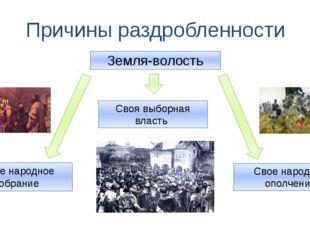 Причины раздробленности Земля-волость Свое народное собрание Своя выборная вл