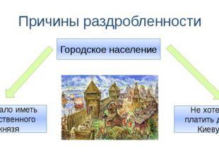 Причины раздробленности Городское население Не хотело платить дань Киеву Жела