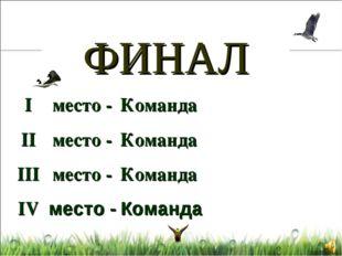 ФИНАЛ I II III IV Команда Команда Команда Команда место - место - место - мес