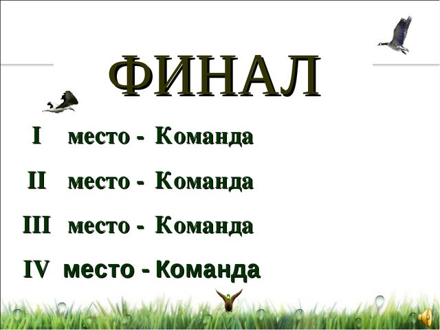 ФИНАЛ I II III IV Команда Команда Команда Команда место - место - место - мес...