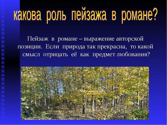 Пейзаж в романе – выражение авторской позиции. Если природа так прекрасна, то...