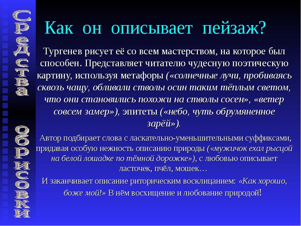 Как он описывает пейзаж? Тургенев рисует её со всем мастерством, на которое б...
