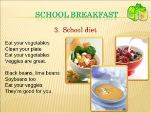 School diet Eat your vegetables Clean your plate Eat your vegetables Veggies