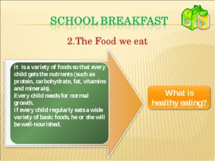 The Food we eat It is a variety of foods so that every child gets the nutrien