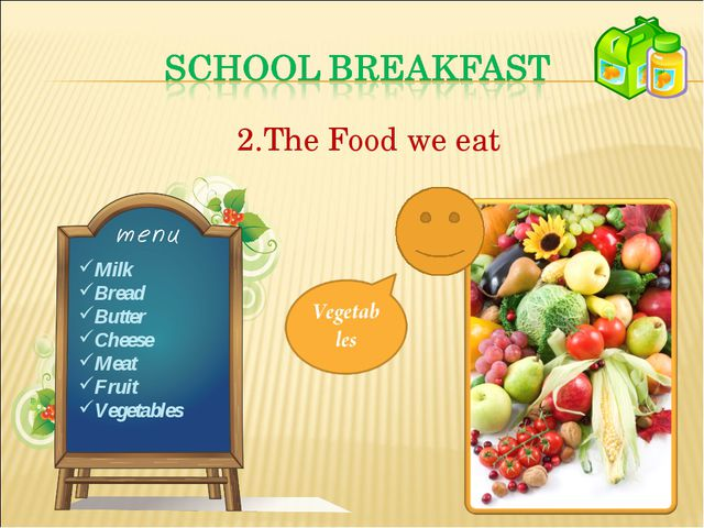 The Food we eat Milk Bread Butter Cheese Meat Fruit Vegetables