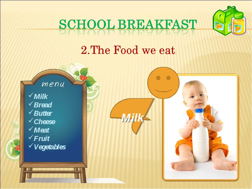 The Food we eat Milk Bread Butter Cheese Meat Fruit Vegetables Milk