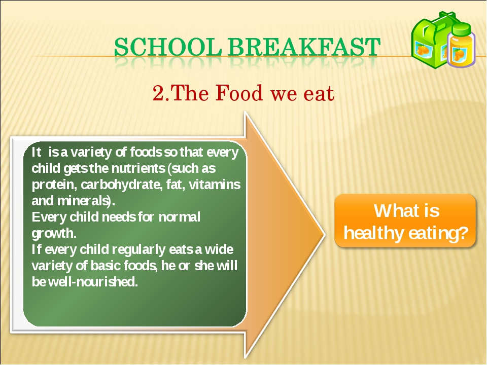 The Food we eat It is a variety of foods so that every child gets the nutrien...