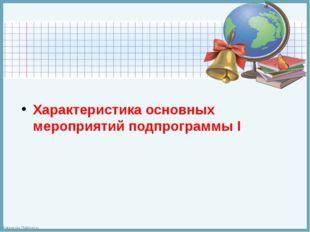 Характеристика основных мероприятий подпрограммы I FokinaLida.75@mail.ru