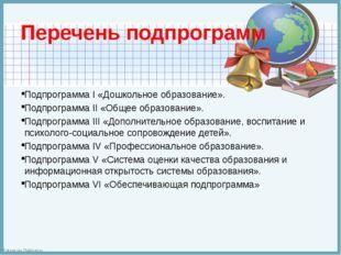Перечень подпрограмм Подпрограмма I «Дошкольное образование». Подпрограмма II