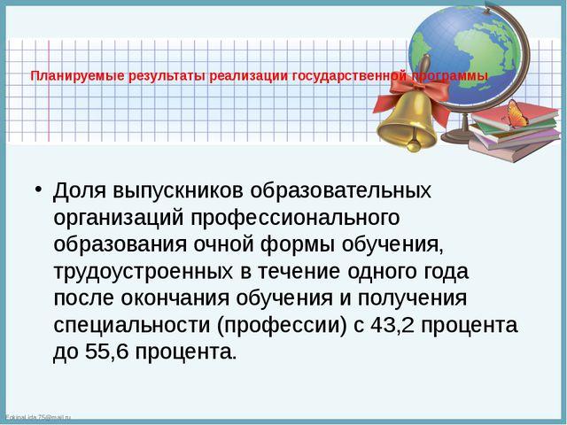 Планируемые результаты реализации государственной программы  Доля выпускнико...