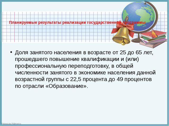 Планируемые результаты реализации государственной программы  Доля занятого н...