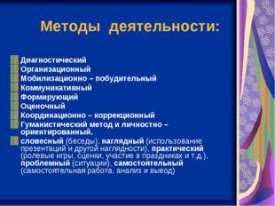 Методы деятельности: Диагностический Организационный Мобилизационно – побуди