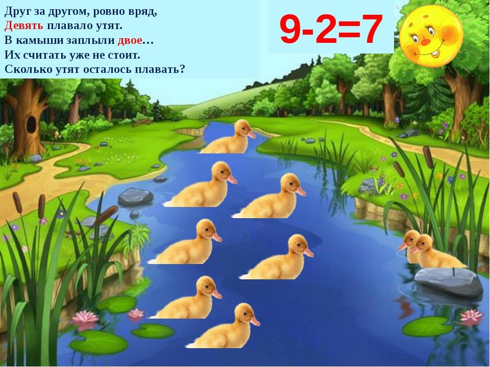 Друг за другом, ровно вряд, Девять плавало утят. В камыши заплыли двое… Их сч...
