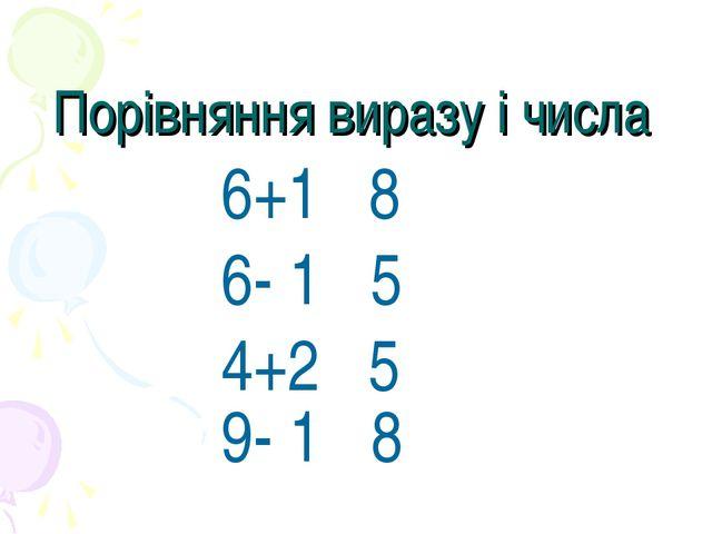 Порівняння виразу і числа 6+1 8 6- 1 5 4+2 5 9- 1 8