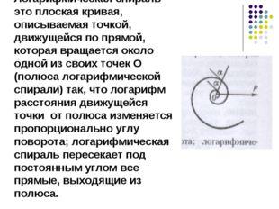 Логарифмическая спираль это плоская кривая, описываемая точкой, движущейся по