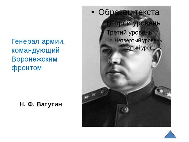 Н. Ф. Ватутин Генерал армии, командующий Воронежским фронтом