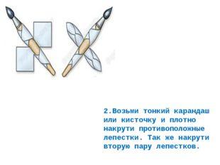 2.Возьми тонкий карандаш или кисточку и плотно накрути противоположные лепест