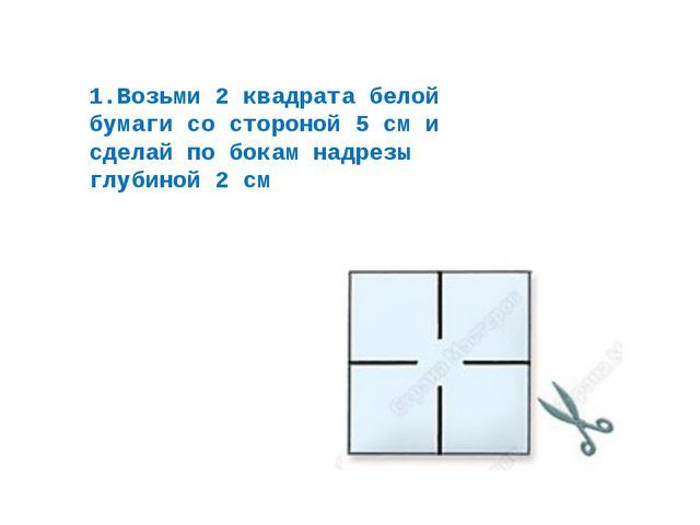 1.Возьми 2 квадрата белой бумаги со стороной 5 см и сделай по бокам надрезы г...