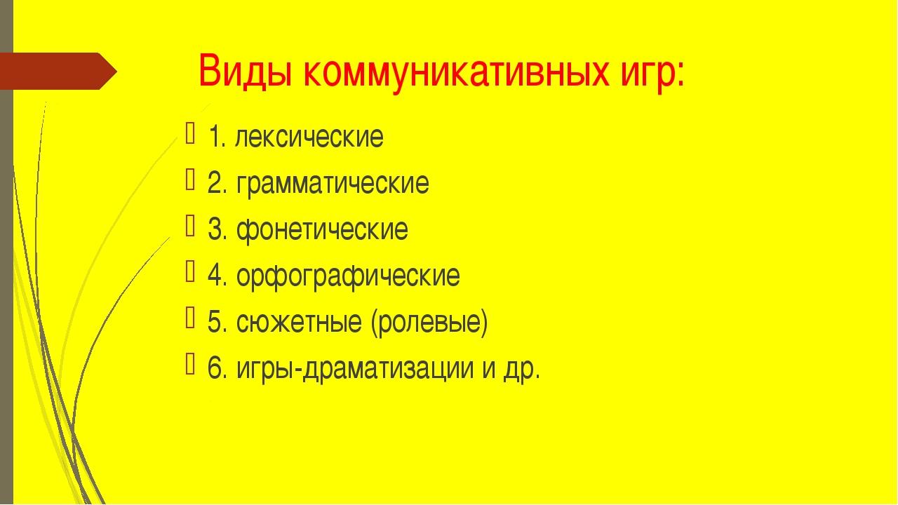 Виды коммуникативных игр: 1. лексические 2. грамматические 3. фонетические 4....