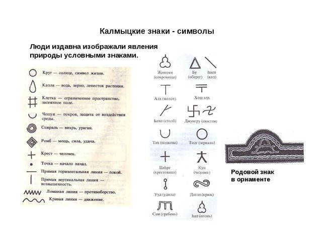 Калмыцкие знаки - символы Люди издавна изображали явления природы условными...