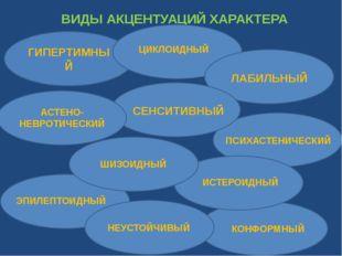 ВИДЫ АКЦЕНТУАЦИЙ ХАРАКТЕРА ГИПЕРТИМНЫЙ ЦИКЛОИДНЫЙ ЛАБИЛЬНЫЙ АСТЕНО-НЕВРОТИЧЕС