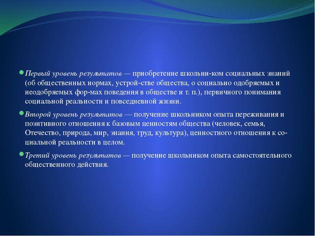 Первый уровень результатов — приобретение школьником социальных знаний (об...