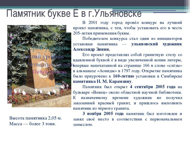 Памятник букве Ё в г.Ульяновске В 2001 году город провёл конкурс на лучший п...