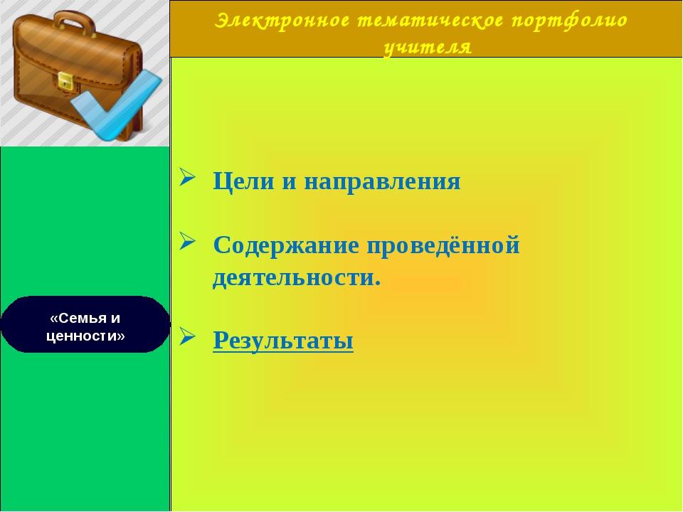 Электронное тематическое портфолио учителя «Семья и ценности» Цели и направл...