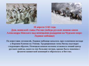 18 апреля 1242 года. День воинской славы России (победа русских воинов князя