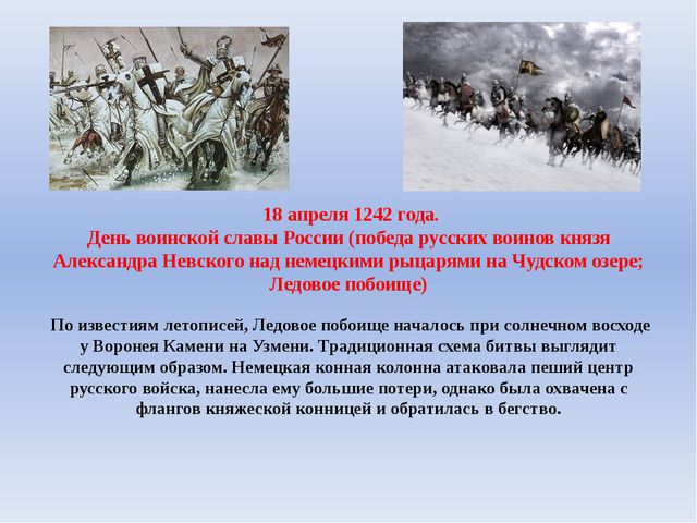 18 апреля 1242 года. День воинской славы России (победа русских воинов князя...