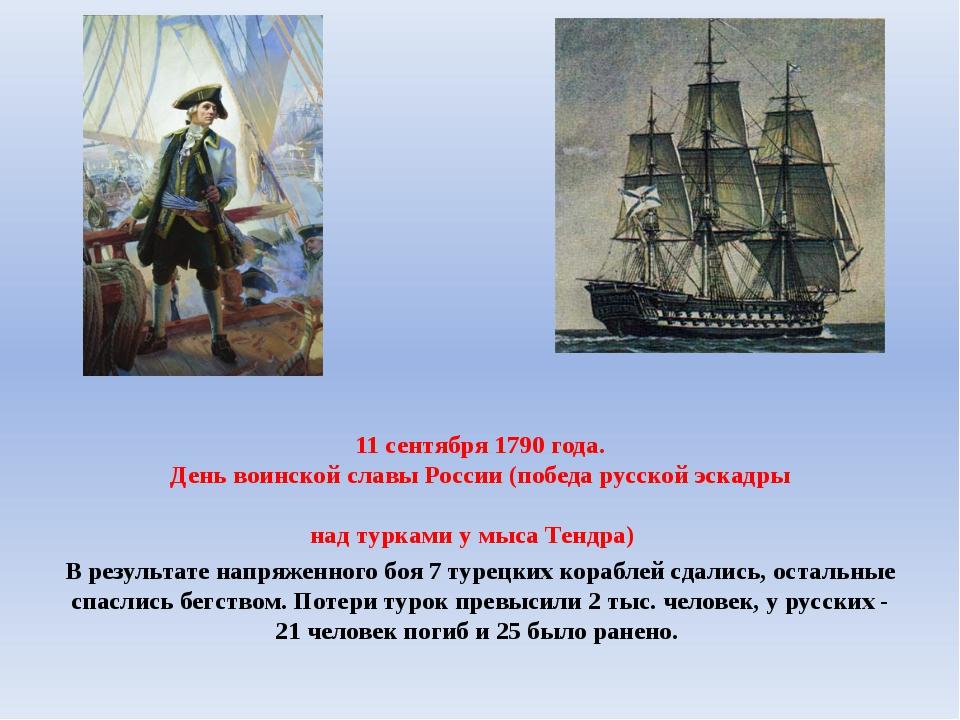 11 сентября 1790 года. День воинской славы России (победа русской эскадры на...