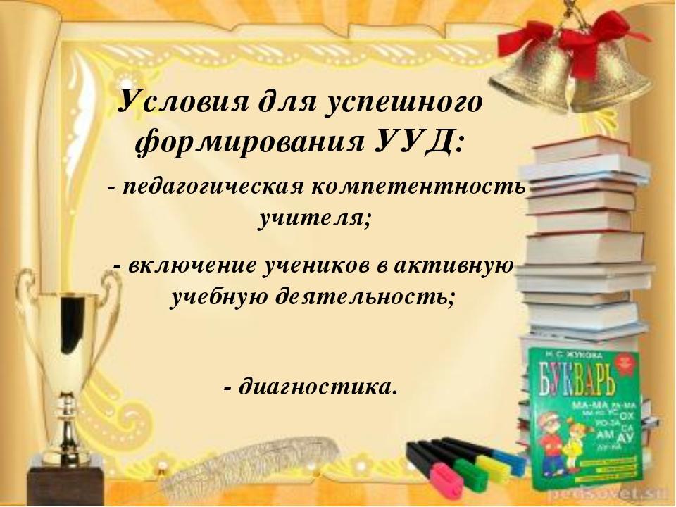 Условия для успешного формирования УУД: - педагогическая компетентность учите...
