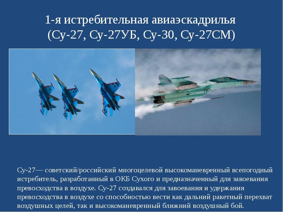 1-я истребительная авиаэскадрилья (Су-27, Су-27УБ, Су-30, Су-27СМ) Су-27— сов...