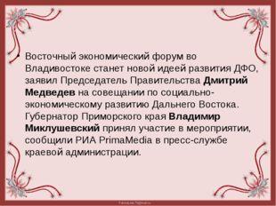 Восточный экономический форум во Владивостоке станет новой идеей развития ДФ