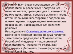 В рамках ВЭФ будет представлен целый пул перспективных российских и зарубежны