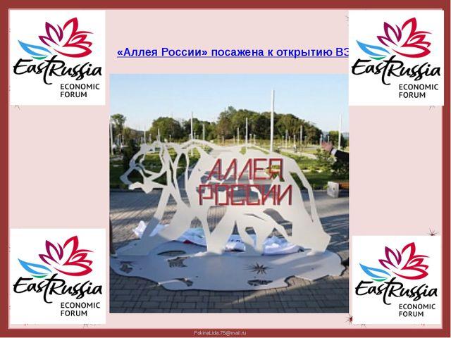 «Аллея России» посажена к открытию ВЭФ FokinaLida.75@mail.ru