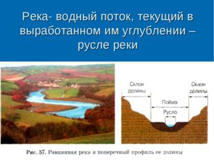 Река- водный поток, текущий в выработанном им углублении – русле реки