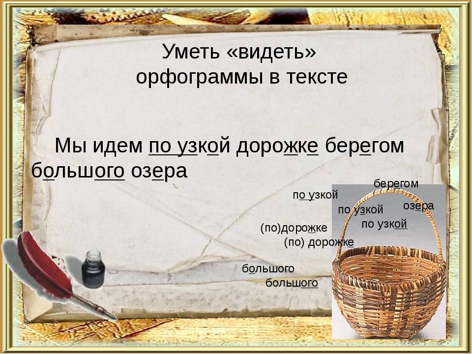 Уметь «видеть» орфограммы в тексте Мы идем по узкой дорожке берегом большого...