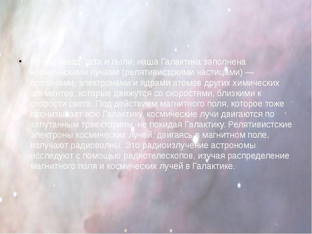 Кроме звезд, газа и пыли, наша Галактика заполнена космическими лучами (реля...