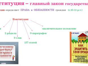 Конституция – главный закон государства Конституция определяет ПРАВА и ОБЯЗАН