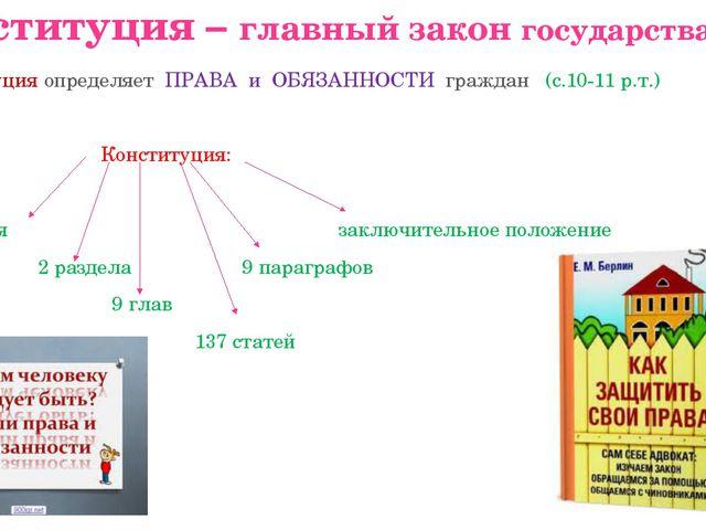 Конституция – главный закон государства Конституция определяет ПРАВА и ОБЯЗАН...