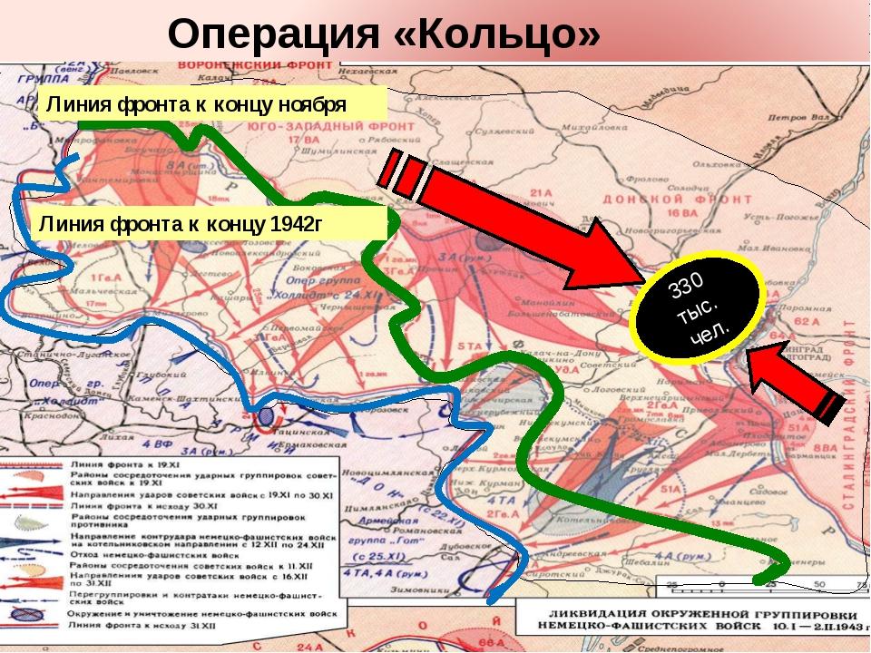Линия фронта к концу ноября Линия фронта к концу 1942г 330 тыс. чел. Операци...