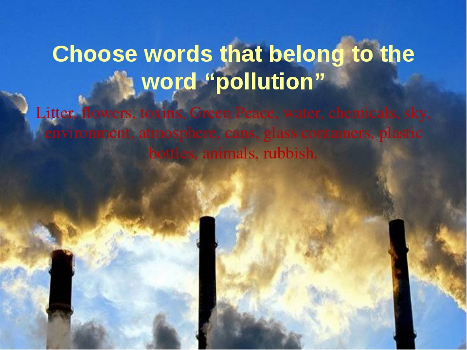 "Choose words that belong to the word ""pollution"" Litter, flowers, toxins, Gre..."