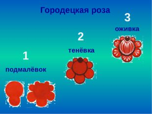 подмалёвок тенёвка оживка Городецкая роза 1 2 3