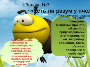 Задача №3 «Есть ли разум у пчел?»   (биологическая задача)  Обычно пове