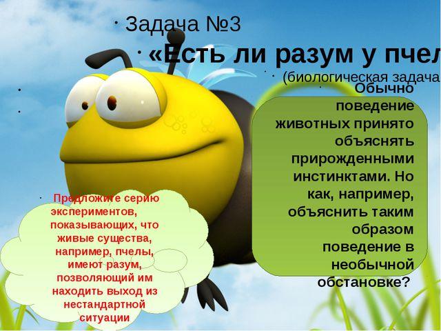 Задача №3 «Есть ли разум у пчел?»   (биологическая задача)  Обычно пове...