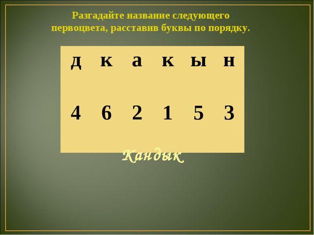Разгадайте название следующего первоцвета, расставив буквы по порядку. Кандык...