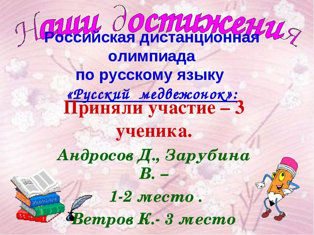 Российская дистанционная олимпиада по русскому языку «Русский медвежонок»: Пр...
