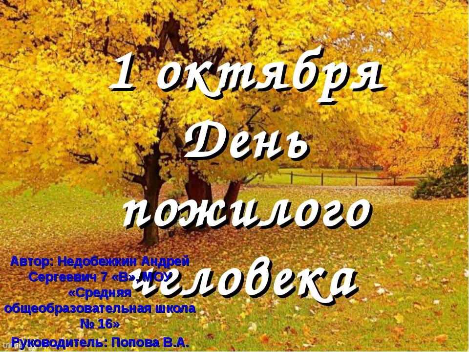 1 октября День пожилого человека Автор: Недобежкин Андрей Сергеевич 7 «В», МО...
