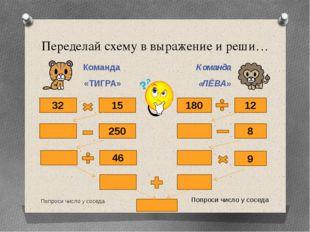 Переделай схему в выражение и реши… Команда «ТИГРА» Команда «ЛЁВА» Попроси чи